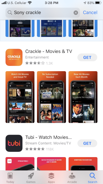 Locate the Crackle app and select GET