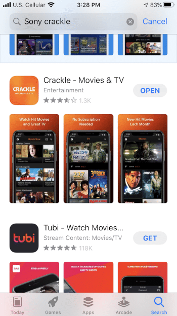 Click Open to launch the Crackle app