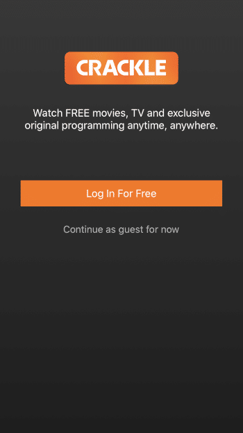 "Once on the Crackle main screen you can either select ""Log In For Free"" or ""Continue as guest for now."""