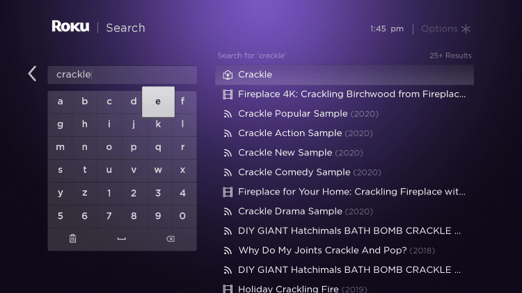 "Enter in ""Crackle"" within the search bar"