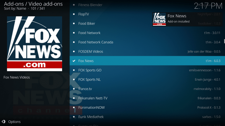 Wait for Fox News add-on installed message to appear