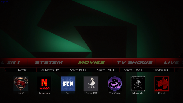 That's it! The Franks Kodi Build is now successfully installed.