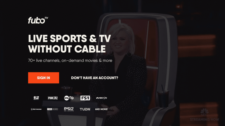 """When launching fuboTV you can either Sign In or select """"Don't Have an Account?"""""""