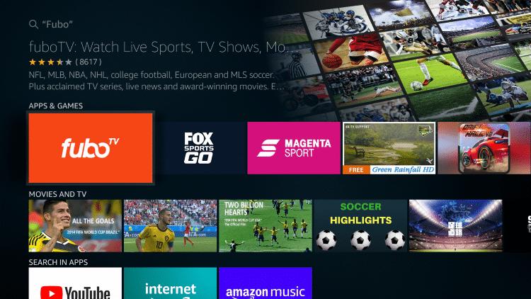 Click the fuboTV app under Apps & Games