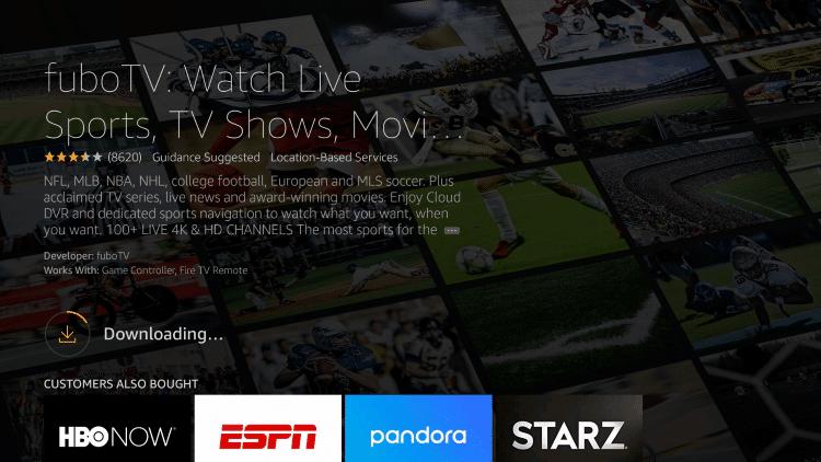 Wait for the fuboTV app to install