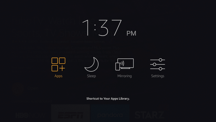 When this menu appears click Apps