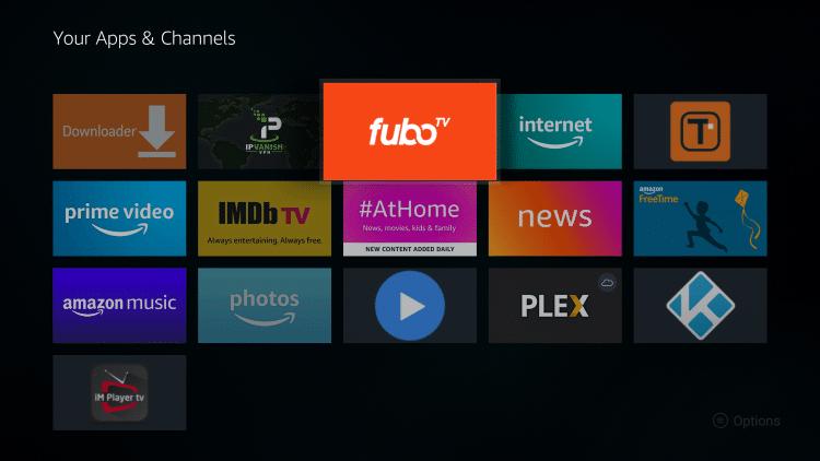 Place the fuboTV app wherever you prefer and click the OK button.
