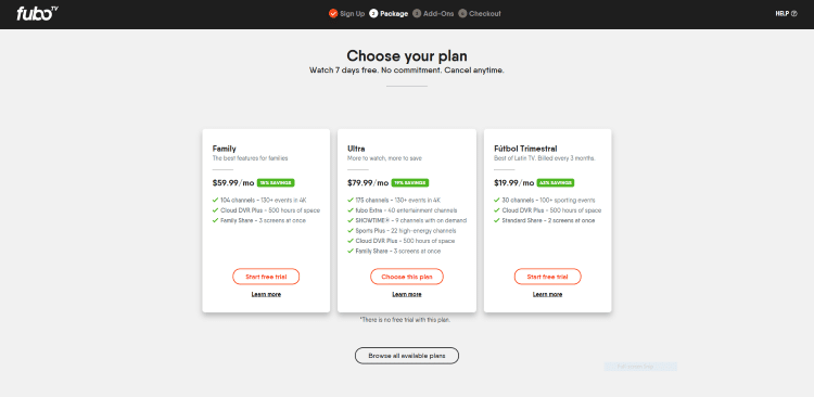 Next, choose your plan. For this example, we chose the basic Family plan on the left. Click Start free trial.