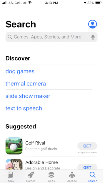 Open the Apple App Store and select Search on the bottom menu