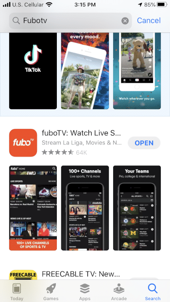 Click Open to launch the fuboTV app