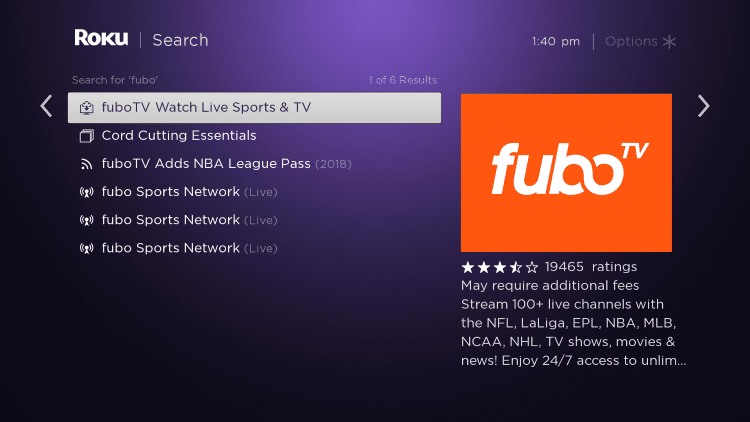 Scroll to the right and select fuboTV