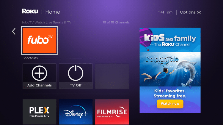 Return back to the home screen on your Roku device and locate the fuboTV app