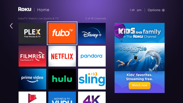 Move the fuboTV app wherever you prefer on your Roku channels list