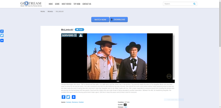 For this example, we watched McLintock! which is one of our Best Public Domain Movies.