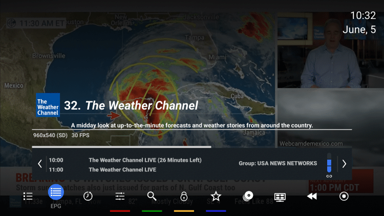 Podczas oglądania kanału naciśnij przycisk OK na pilocie, aby otworzyć menu odtwarzania.  Wybierz EPG.