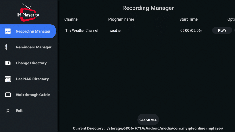 You will notice your scheduled recording appears within the Recording Manager.