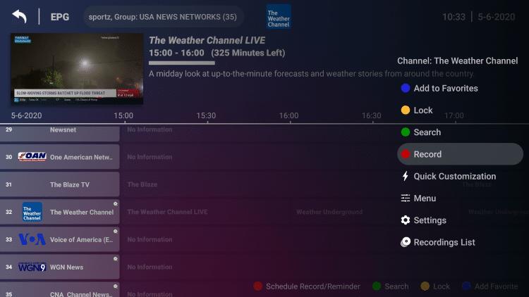 Najedź kursorem na kanał, który chcesz nagrać, i przytrzymaj przycisk OK na pilocie, aby uruchomić szybkie menu po prawej stronie.  Następnie wybierz Nagraj.