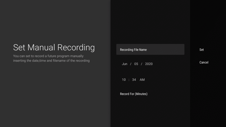 Next set your Manual Recording settings.
