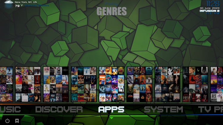 infusion kodi build apps