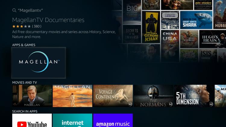 Select MagellanTV under Apps & Games
