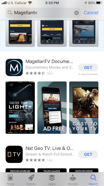 Locate the MagellanTV app and select GET