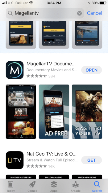 ClickOpen to launch the MagellanTV app