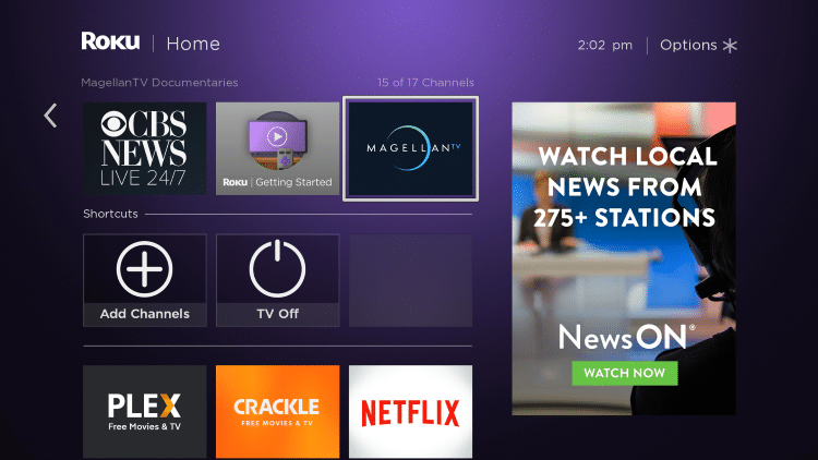 Return back to your Roku home screen and locate MagellanTV within your channel list