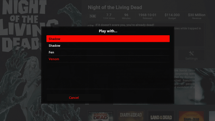 """Within the """"Play with..."""" screen choose Shadow"""