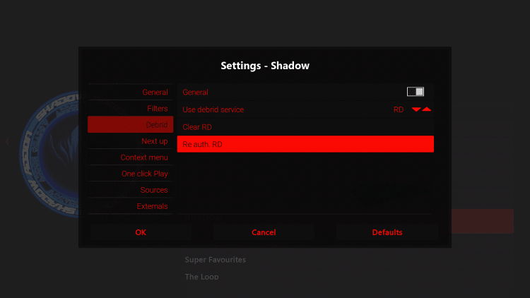 Within the Debrid option on the left menu, select Re auth RD