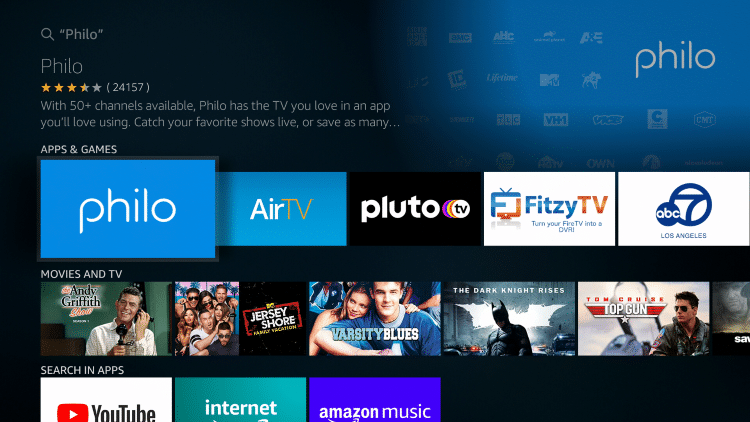 Click the Philo TV app under Apps & Games