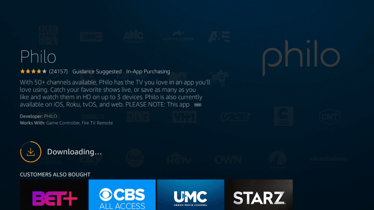 Wait for the Philo TV app to install