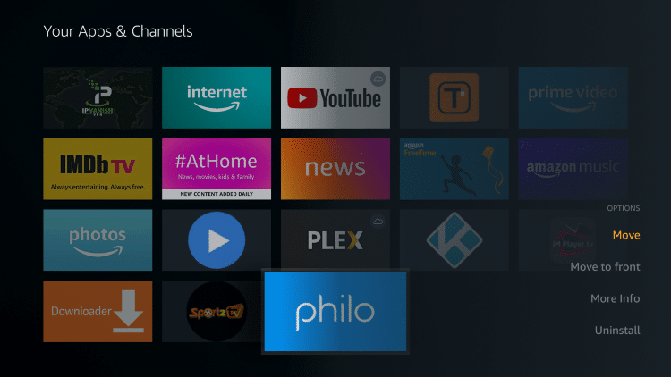Hover over the Philo TV app and select Move