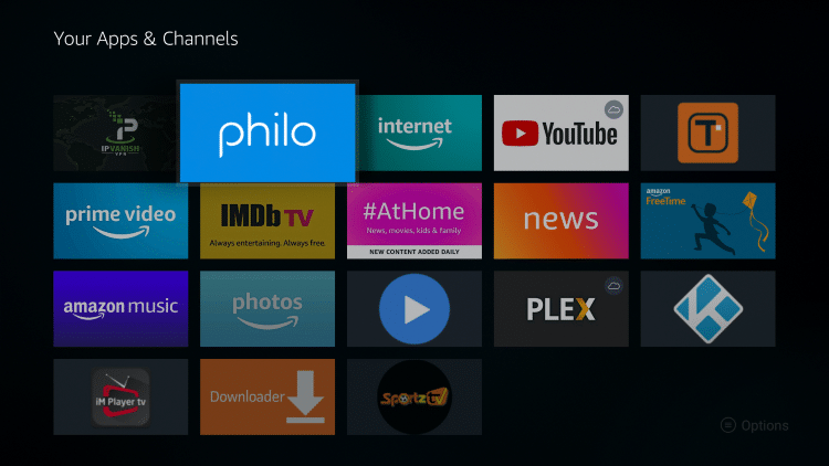 Place the Philo TV app wherever you prefer and click the OK button.