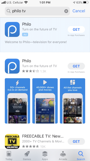 Locate the Philo app and select GET