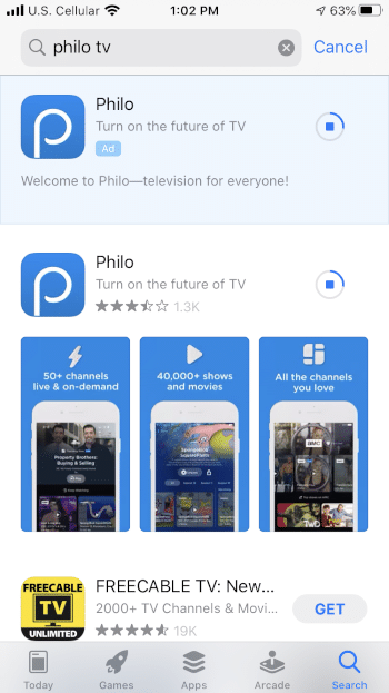 Wait a few seconds for the Philo app to install