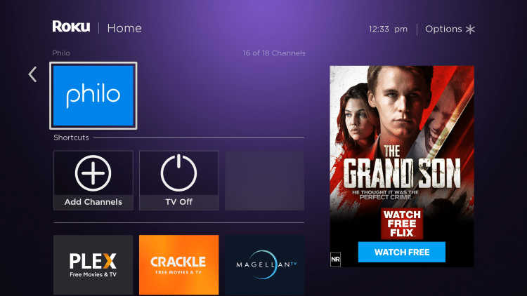 Return back to the home screen on your Roku device and locate the Philo app