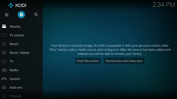 Launch Kodi and click the Settings icon