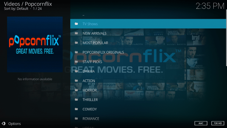The installation of the Popcornflix Kodi Addon is now complete!