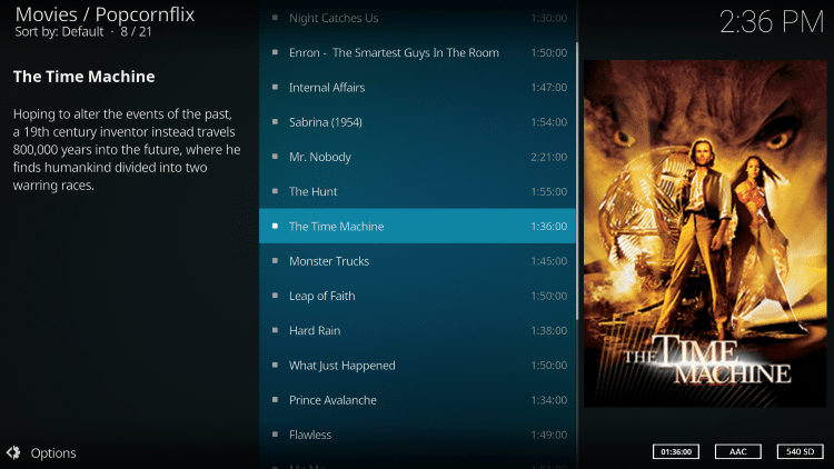 When selecting a category you will notice the different Movie options available for simple one-click playback.