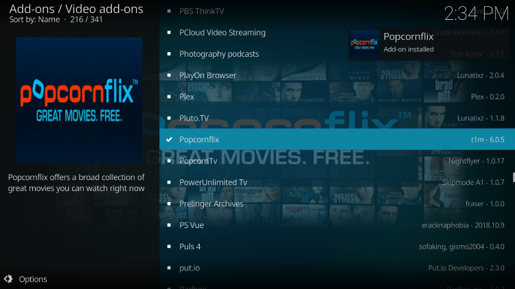 Wait for Popcornflix add-on installed message to appear