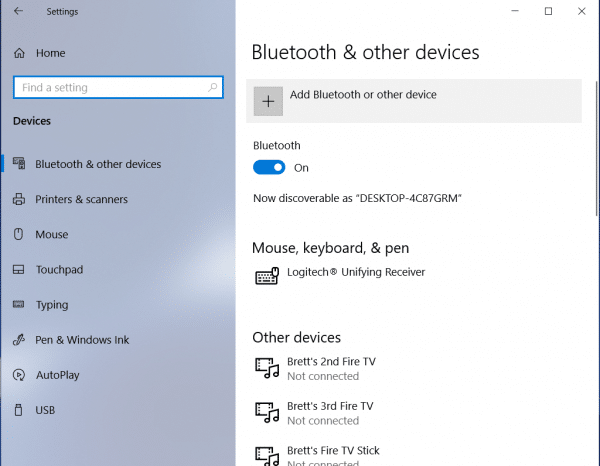 select add bluetooth or other device