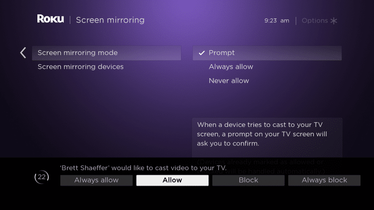 select screen mirroring mode