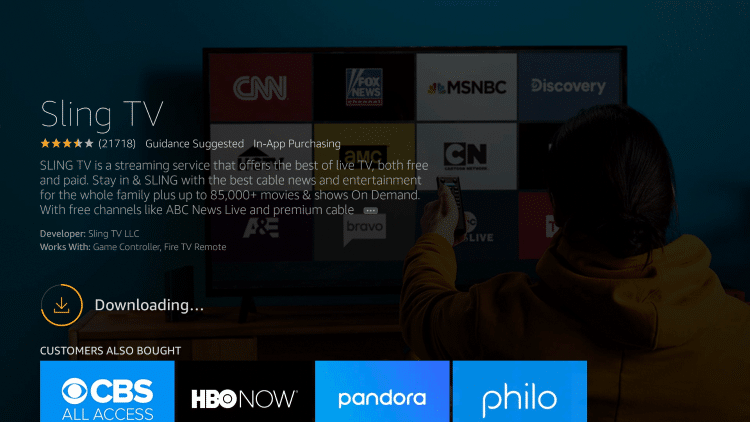 Wait for the Sling TV app to install