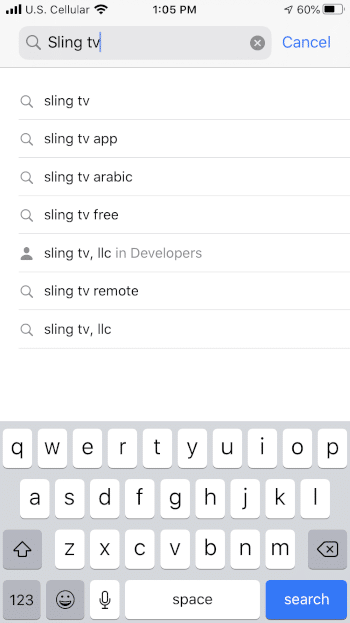 "Enter ""Sling tv"" within the search bar"