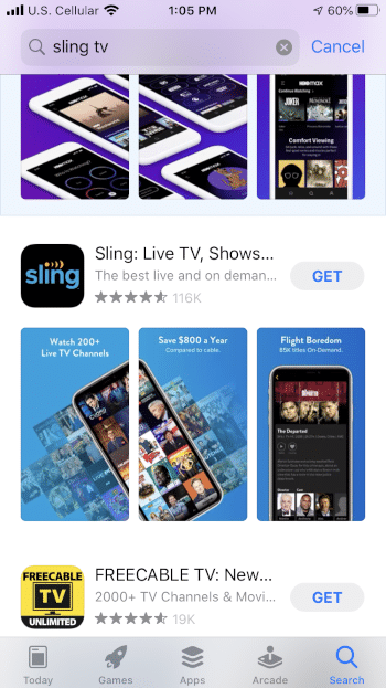 Locate the Sling app and select GET