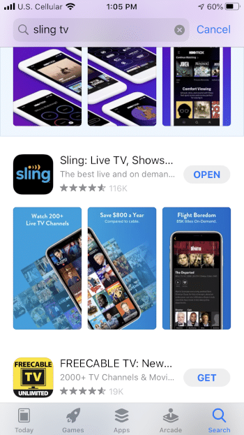 Click Open to launch the Sling app