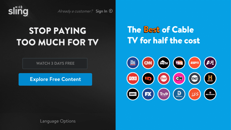 That's it! When launching Sling TV on your Roku device you can either select Explore Free Content or Watch 3 Days Free