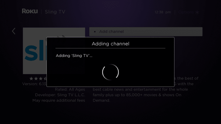 Wait for Sling to be added to your channels.