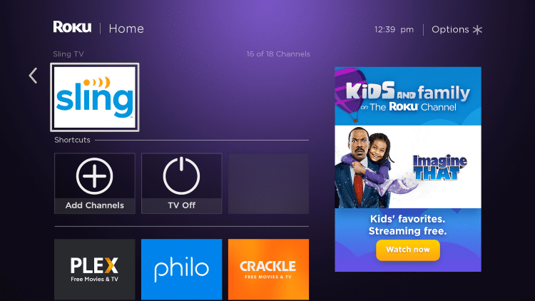 Return back to the home screen on your Roku device and locate the Sling TV app