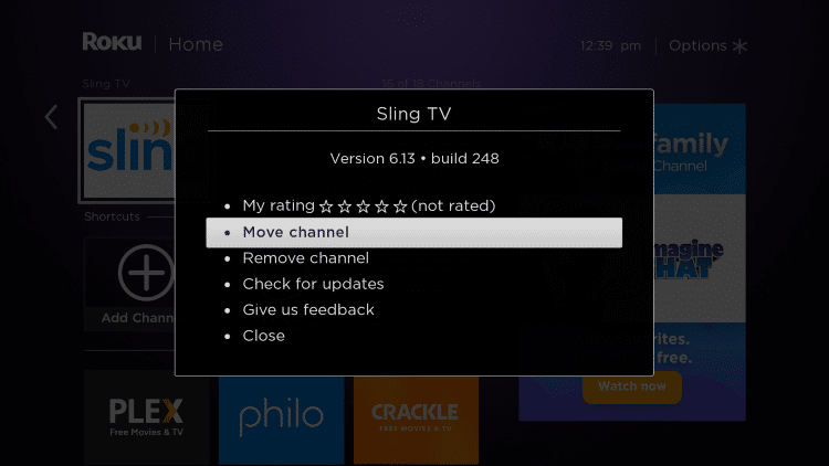 Click the star icon (*) on your remote and select Move channel